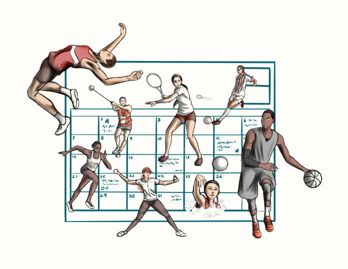 calendar with various people playing sports pictured over it