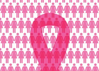 pink ribbon in front of pink female logos