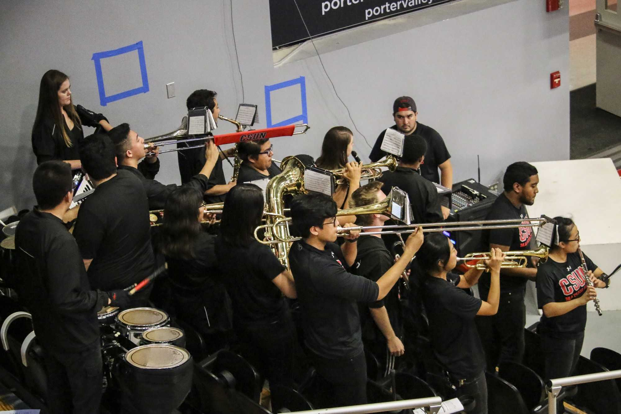 The CSUN pep-band plays during CSUN sports games. Mainly, they are present on the soccer and basketball games. (Tomas Rodriguez/The Sundial) Photo credit: Tomas Rodriguez