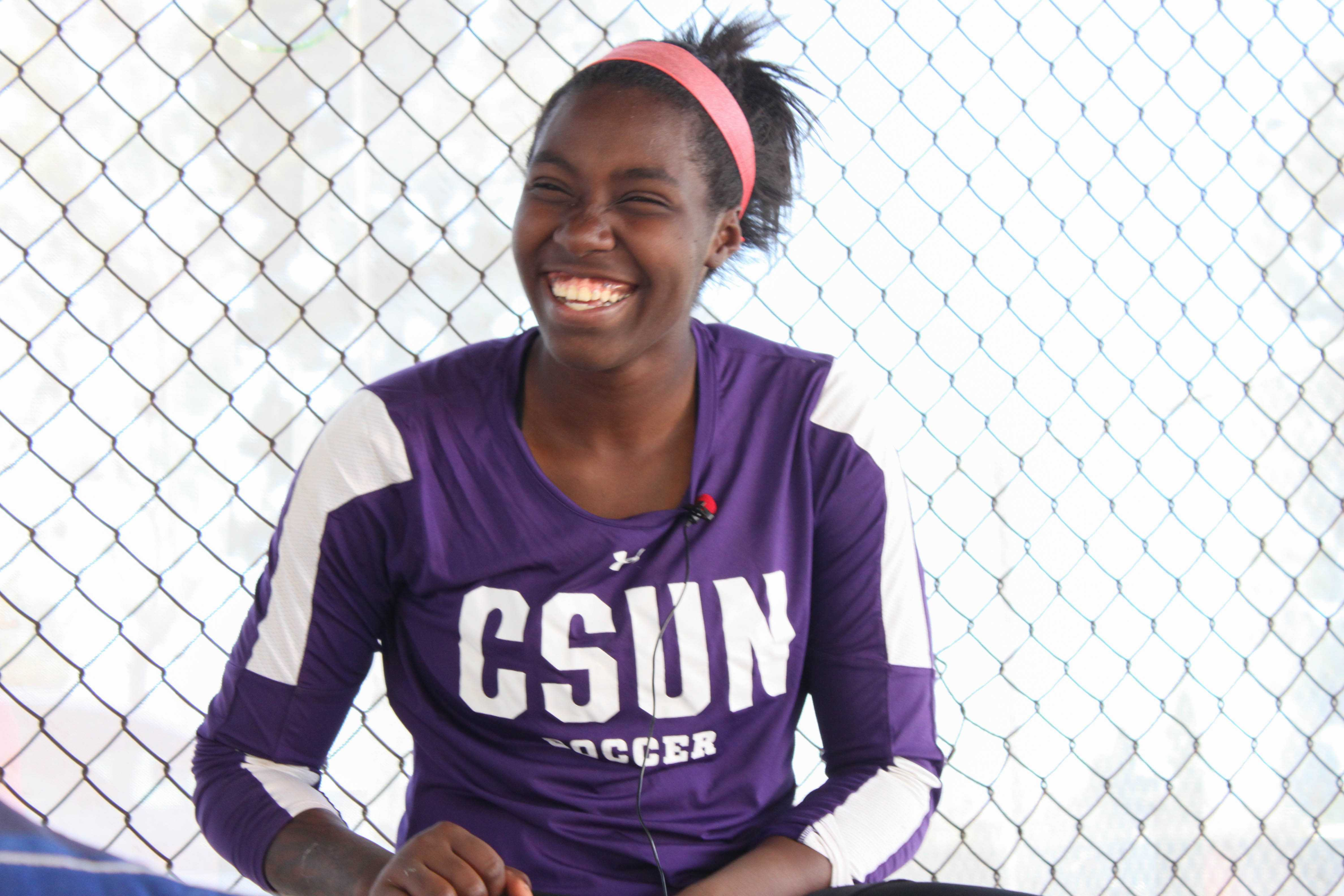 Goalkeeper for CSUN's women's soccer team and shutouts leader with 28 shutouts Jovani McCaskill being interviewed for The Sundial after a practice game at CSUN's practice soccer field, Oct. 25, Northridge, CA. Photo credit: Daniela Barhanna