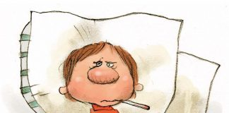 cartoon of a boy laying sick in bed