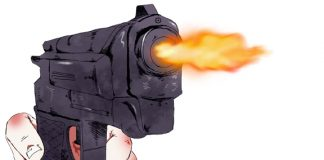 black gun firing red held by red knuckled hand