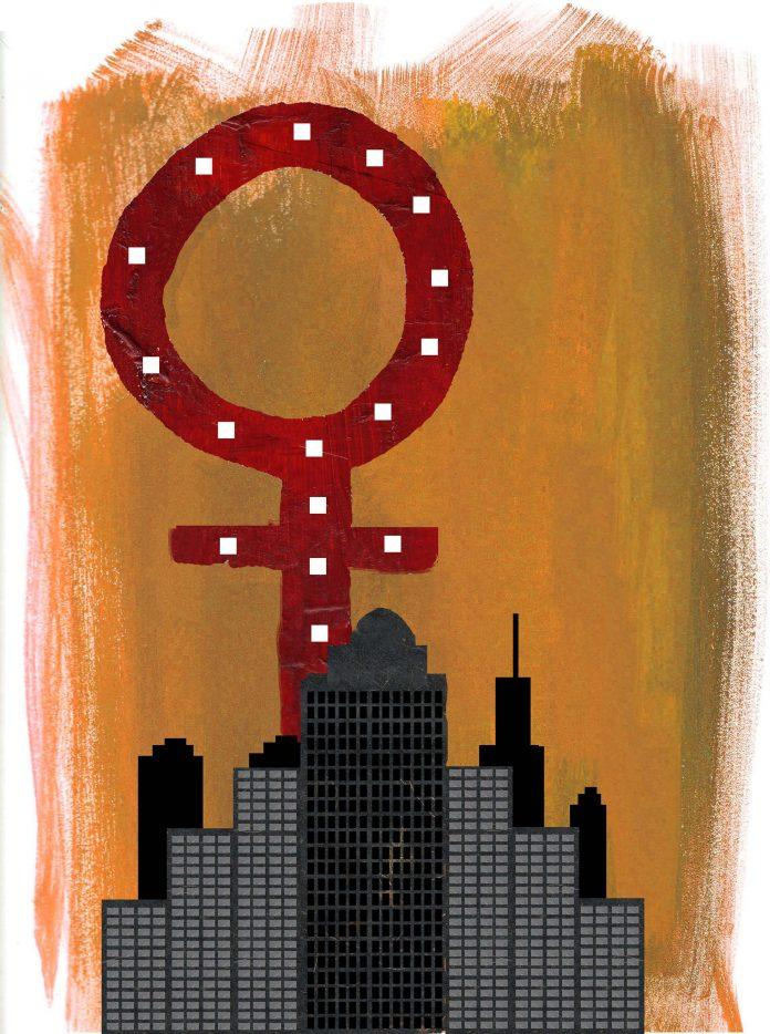 red feminism logo surrounded by gray buildings