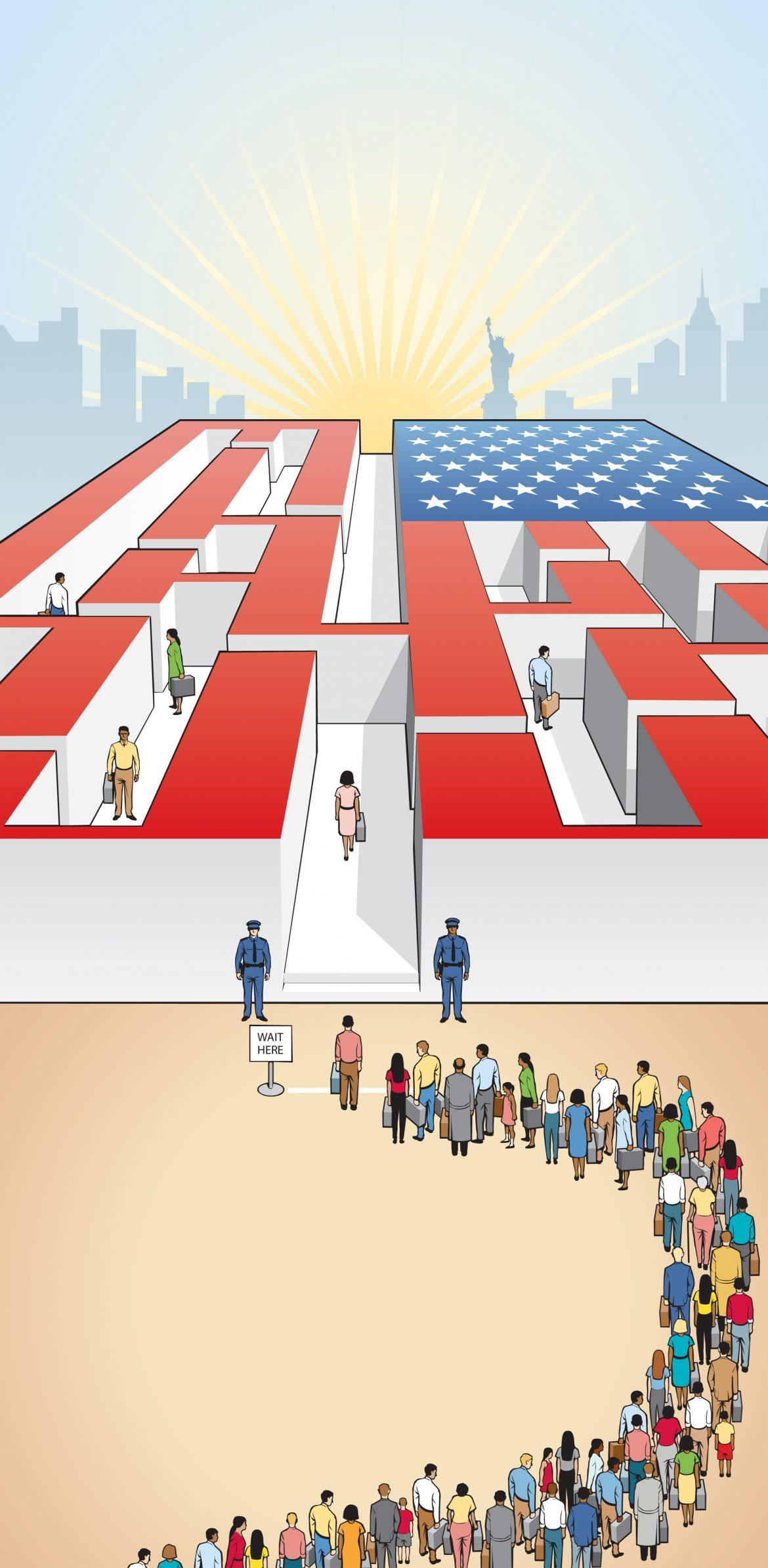 drawing+of+people+in+line+to+go+into+american+flag+maze