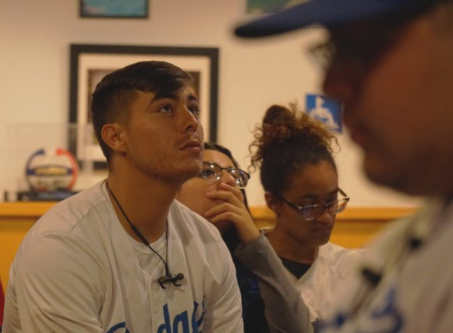 Students react to the World Series Final match-up at Pub Sports Grill