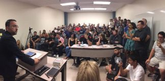 crowd inside a classroom