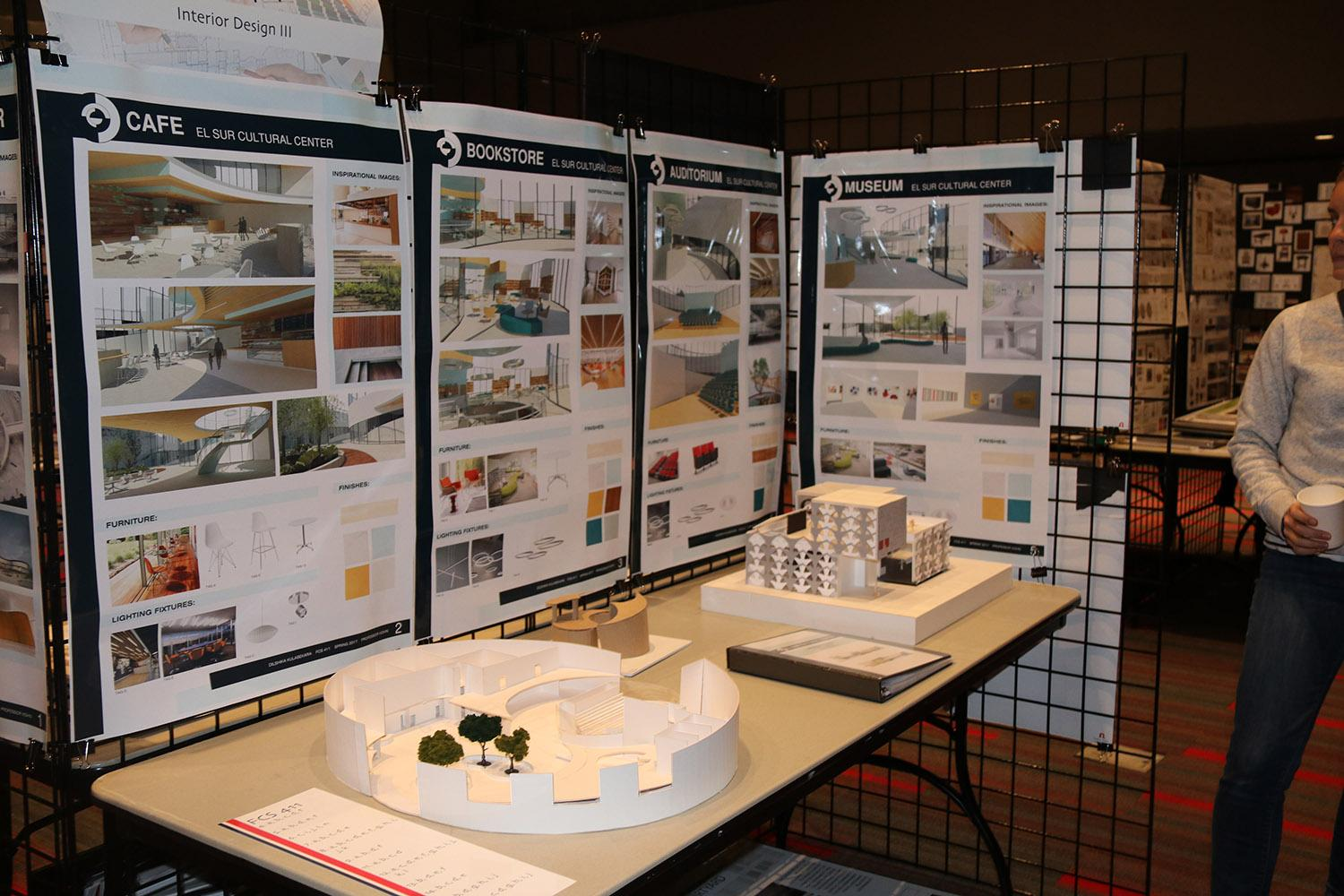 Interior designs of cultural centers by students on display in the Northridge Center. Photo credit: Kelcey Henderson