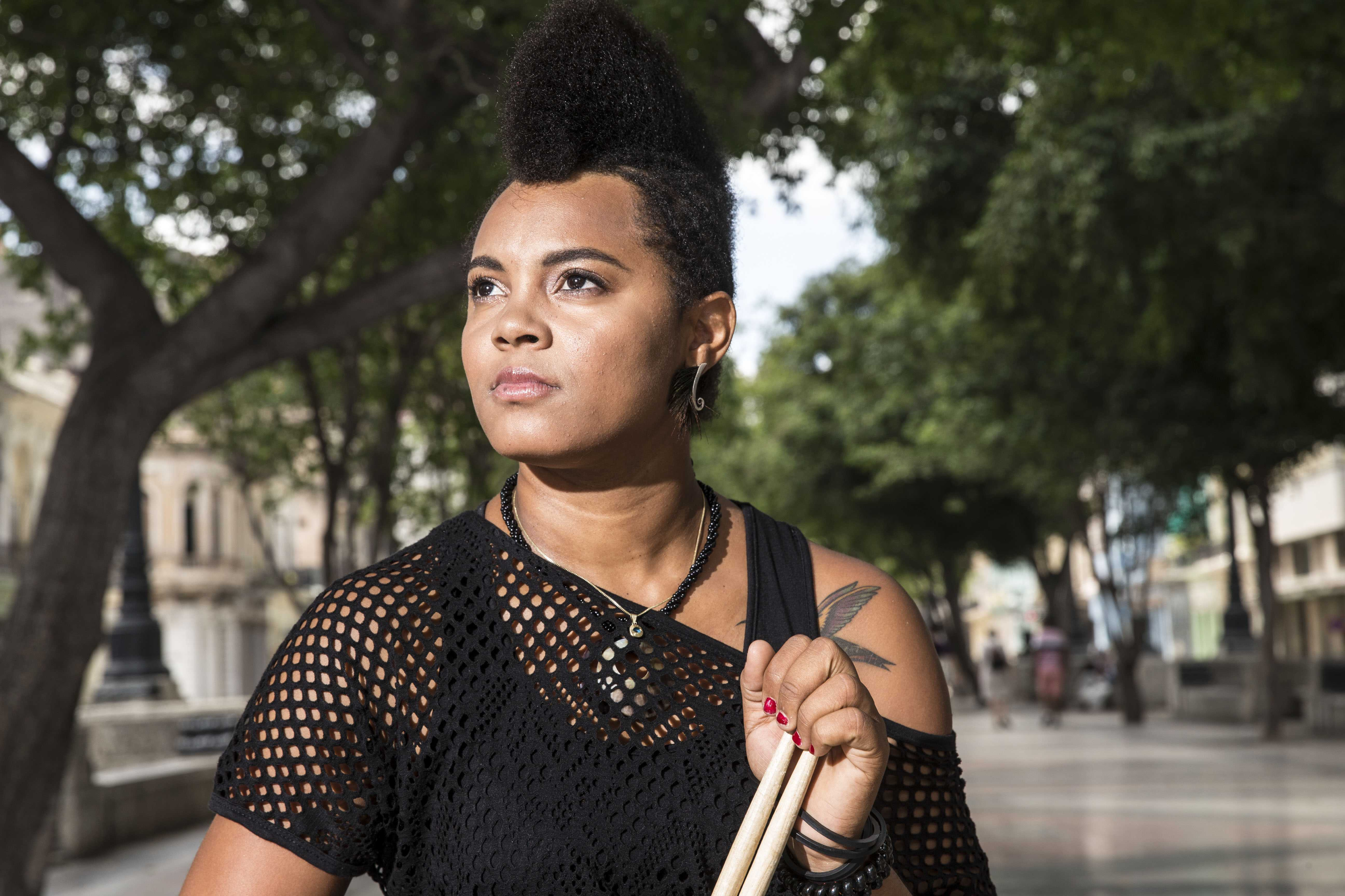 Yissy Garcia, born in the infamous town of Cayo Hueso, is a drummer of her group bandancha. Photo Credit: Courtesy of Yissy Garcia