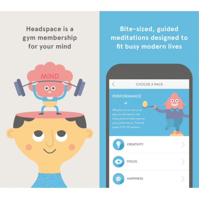 A screenshot of the Headspace app interface and Headspace animations, showing a lists of