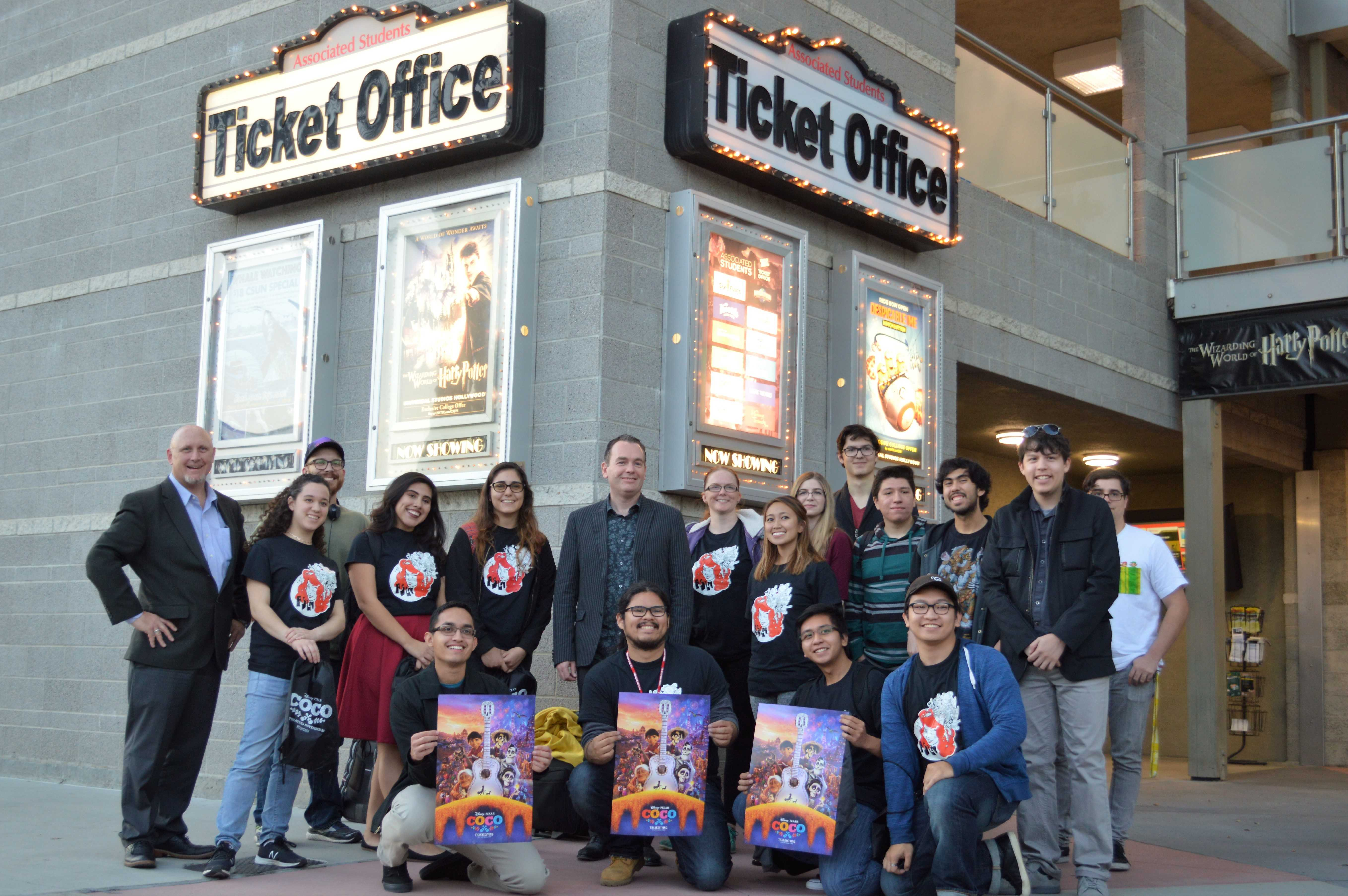 Byron Bashforth posed with the Animation Student League of Northridge and art professor Robert St. Pierre in front of the AS Ticket Office after the event.