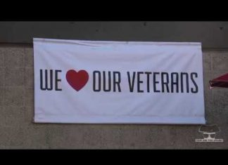banner reading we love our veterans