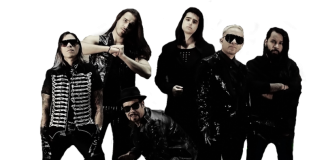 band dressed in all black posing for a photo shoot