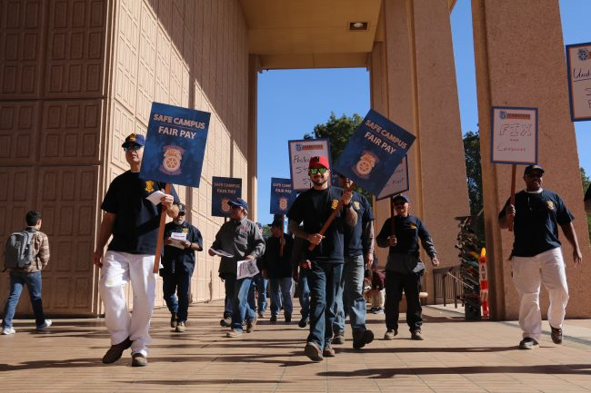 CSUN maintenance workers march through campus in protest