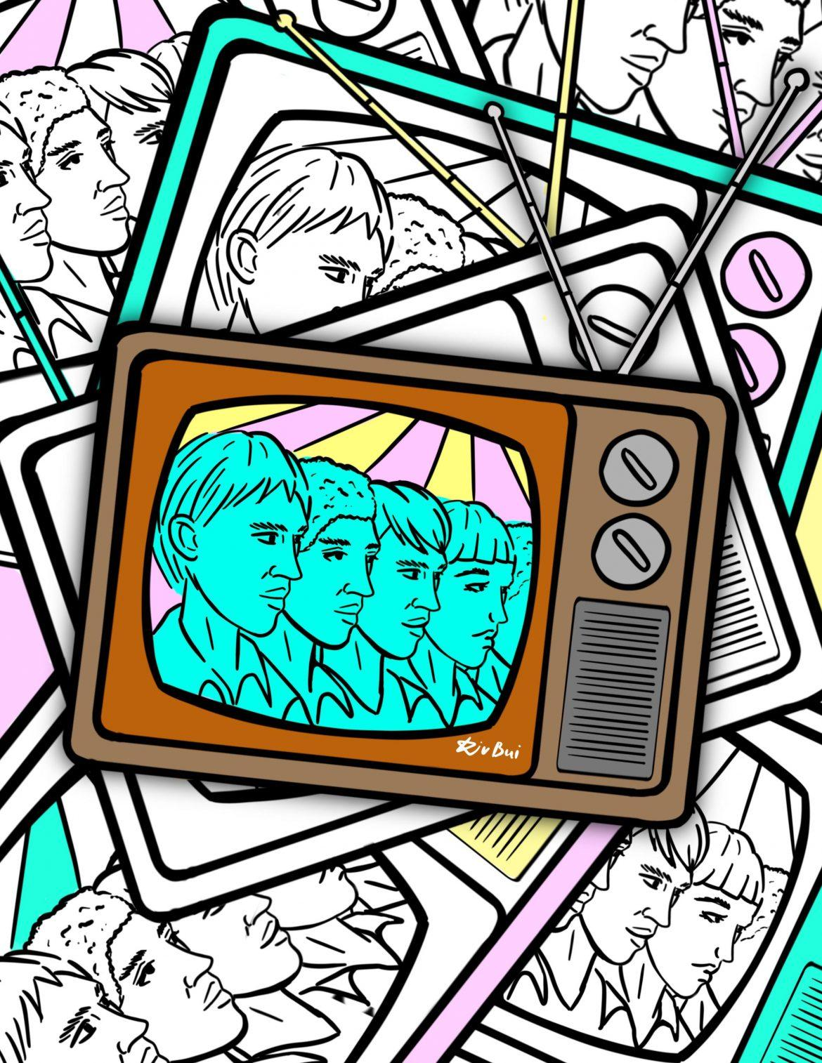 television+with+4+blue+faces+drawn+in+it