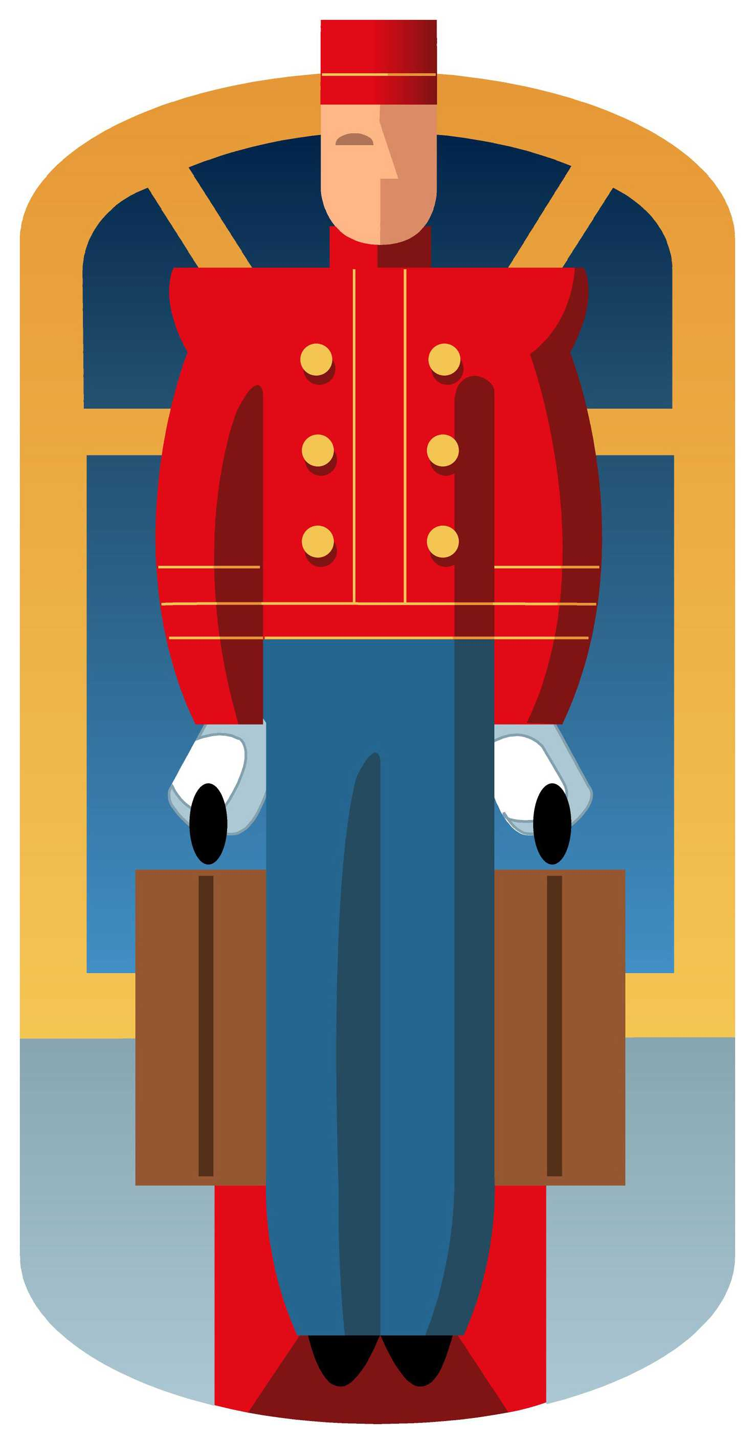 drawing of a hotel bellhop