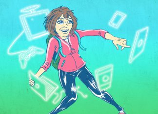 drawing of girl with different electronic devices around her