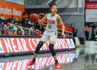 CSUN womans basketball player dribbles ball on the court