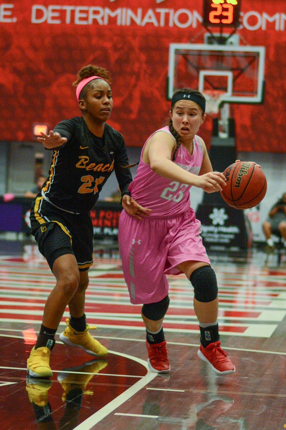 CSUN+womens+basketball+player+in+pink+protects+ball+from+opponent
