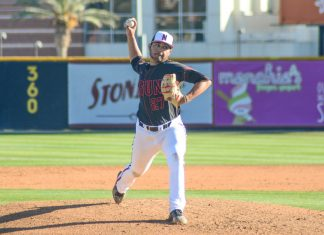 CSUN baseball player throws a pitch