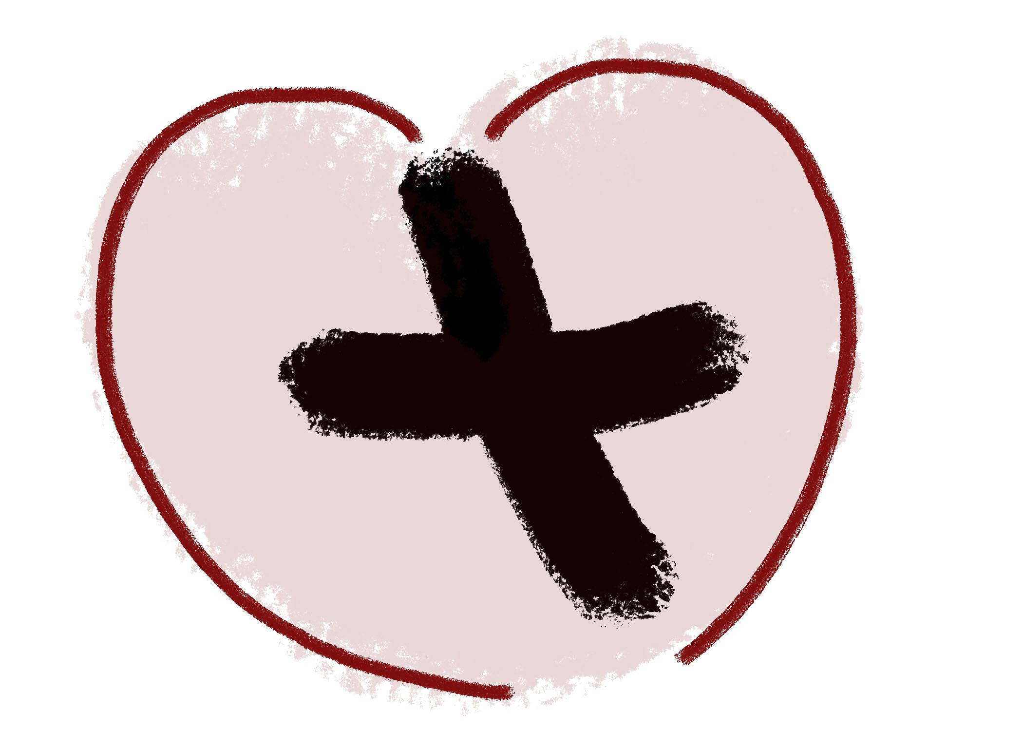 black cross drawn inside heart.