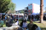 many students stand in line and relax in farmers market