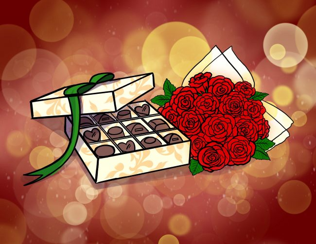box of chocolates and roses