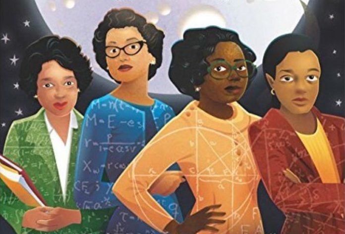 four African american woman drawn with various mathematical equations in their clothes.