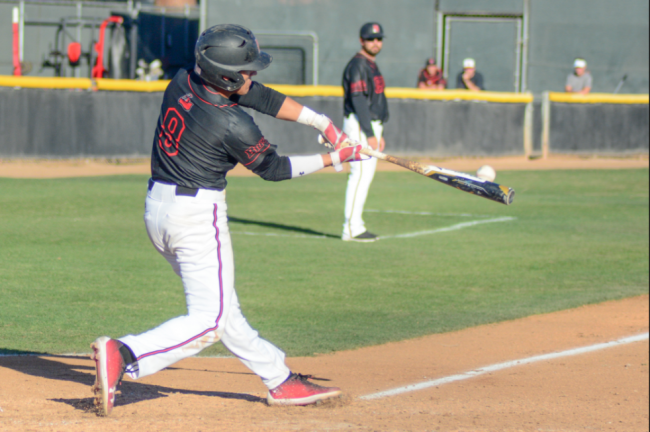 CSUN baseball player takes a swing at the ball during the games warm up