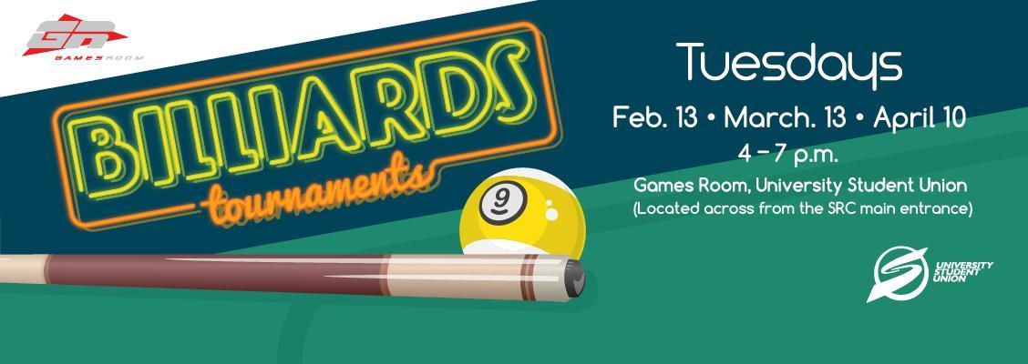 Billiards tournament informational flyer