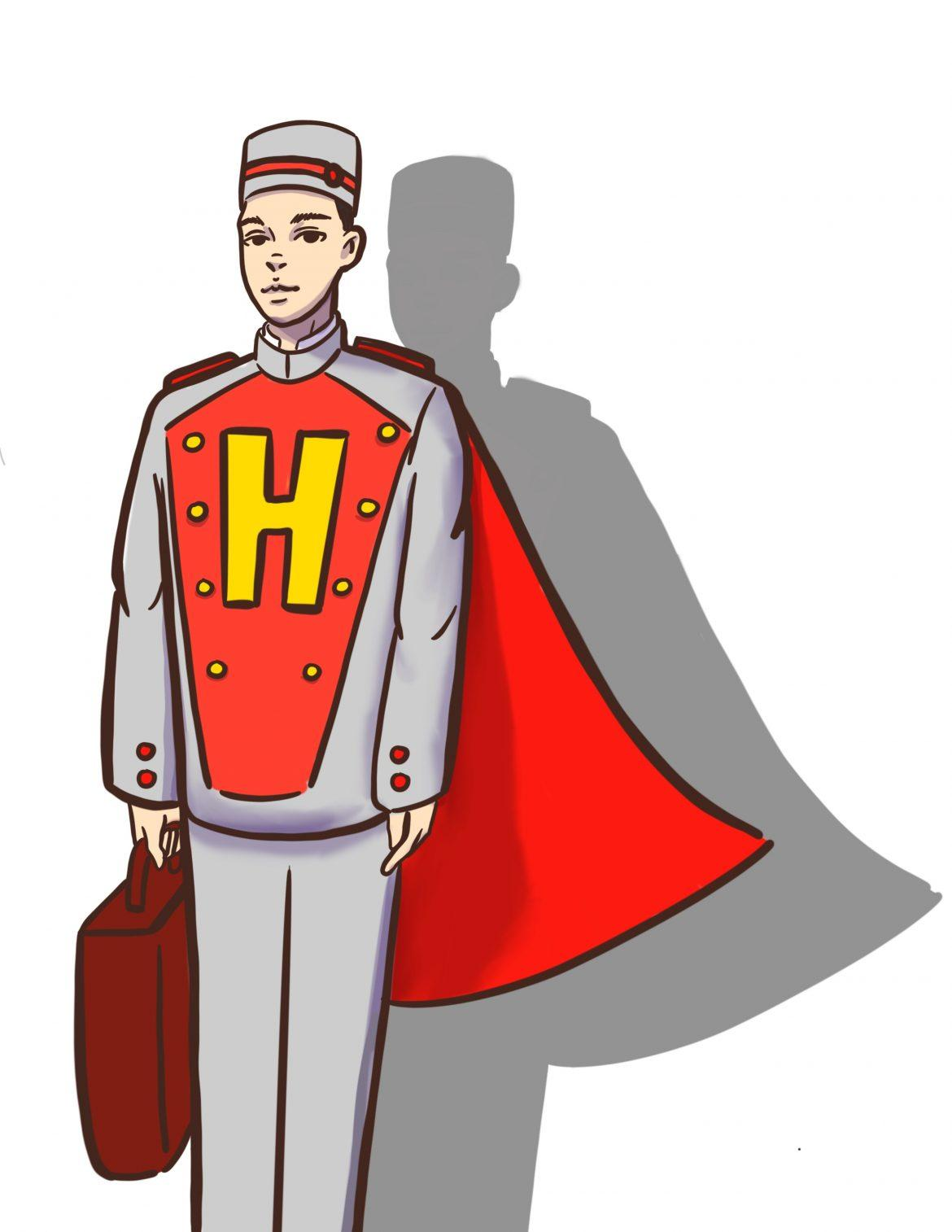 drawing+of+bellhop+with+yellow+H+on+his+uniform