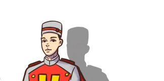 drawing of bellhop with yellow H on his uniform