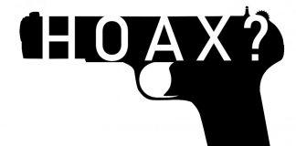 gun with Hoax written as a question mark inside of it