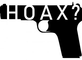 gun with Hoax written as a question mark inside of it