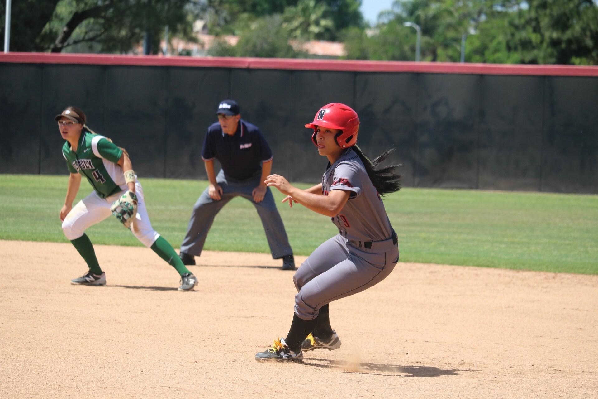 Horvath runs for second base against Cal Poly last season. Photo credit: Lauren Valencia
