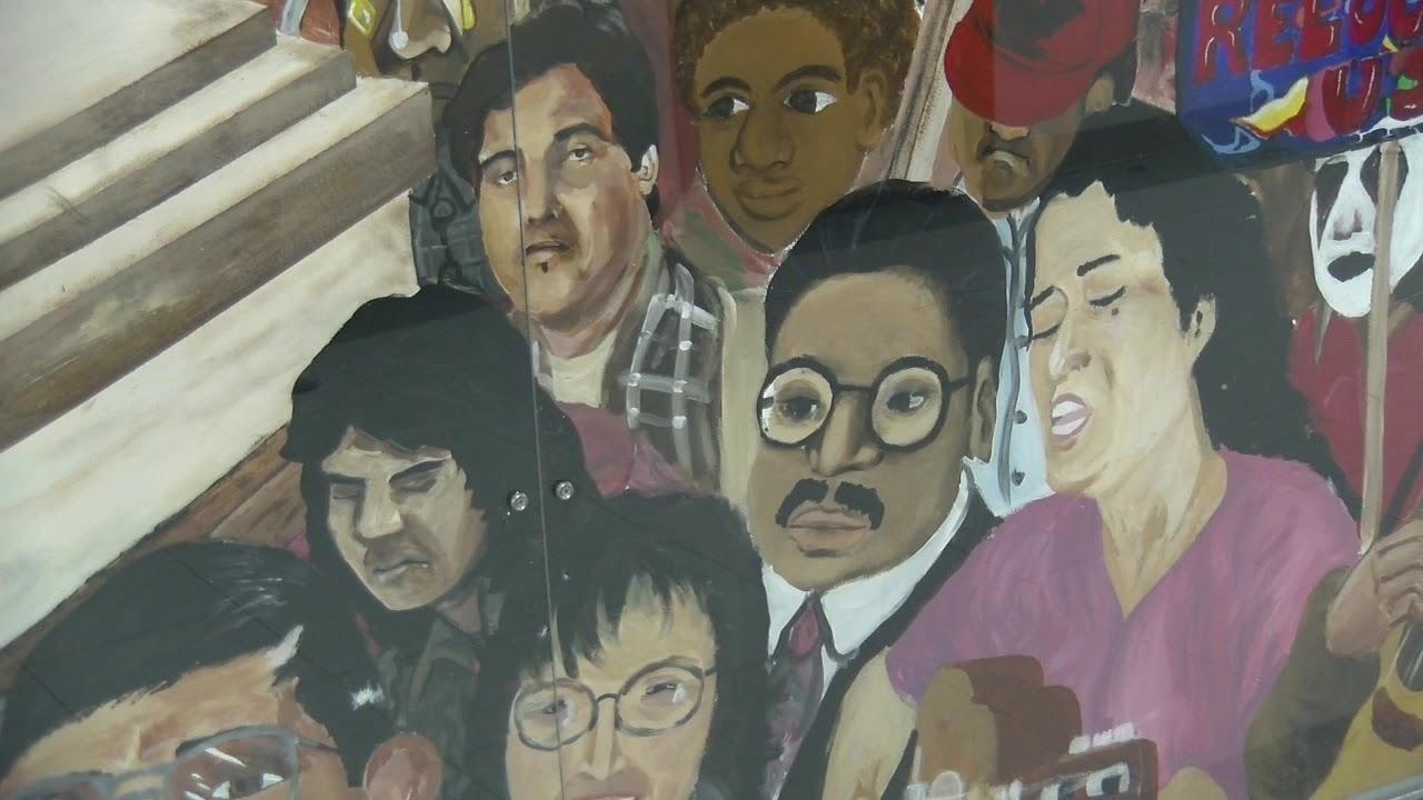 mural with protesters