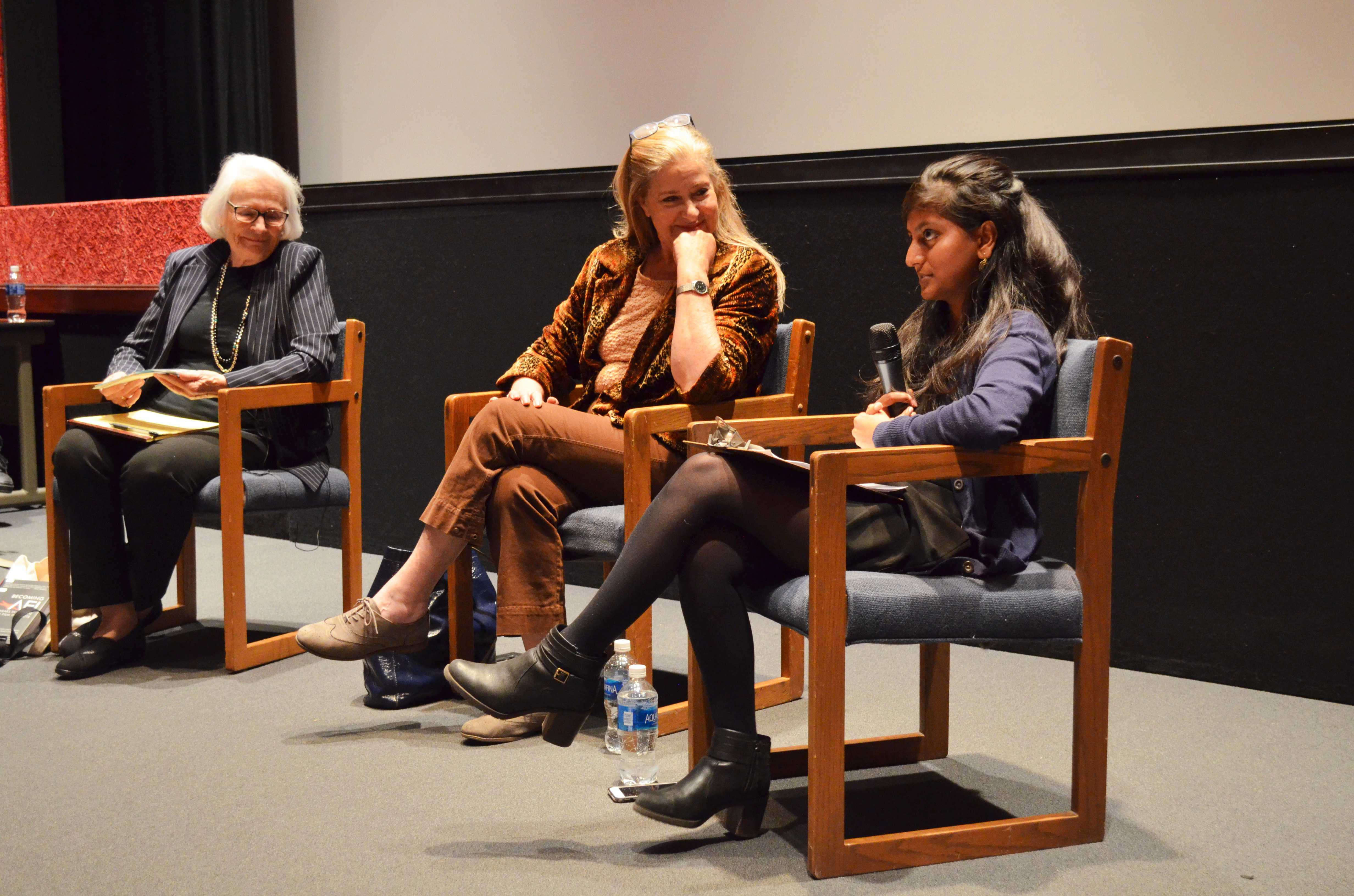 Former AFI President and CEO Jean Picker Firstenberg and filmmaker Lynn Roth look over to CSUN alumni Revati Dhomse as she shares her insight on making it in the entertainment industry. Photo credit: Tamara Syed