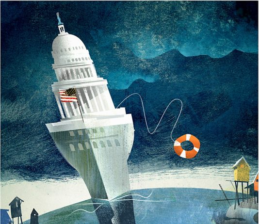 political cartoon of the state capital depicted as a buoy