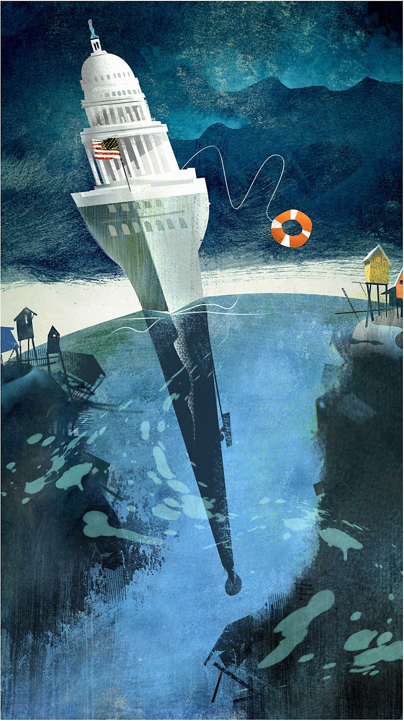 The government's reaction to climate change. Illustration by Daniel Marsula (Pittsburgh Post-Gazette/TNS)