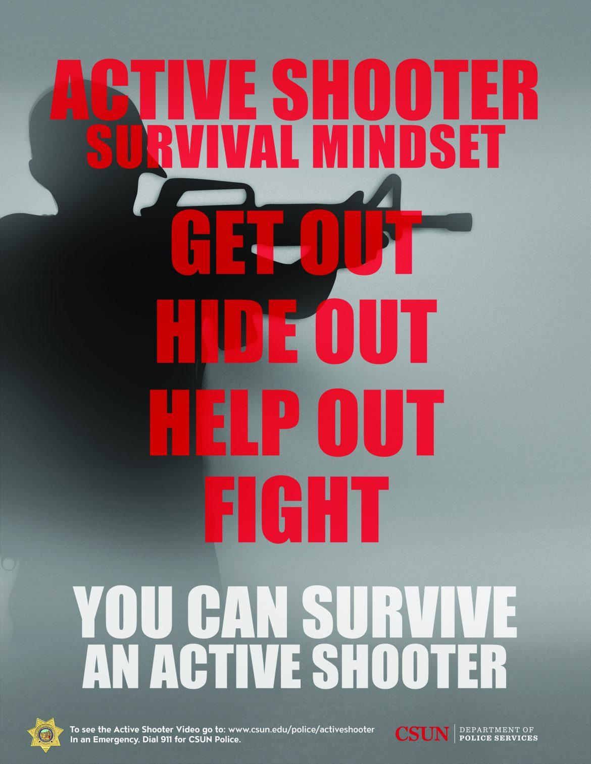Poster reading pointers on how to survive and active shooter