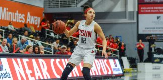 CSUN womans basketball player dribbles ball across the court