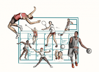 sports events calendar surrounded by various sports