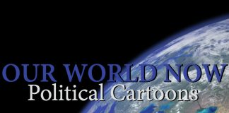 image of Earth from outer space with Our World Now Political cartoons written in blue and white
