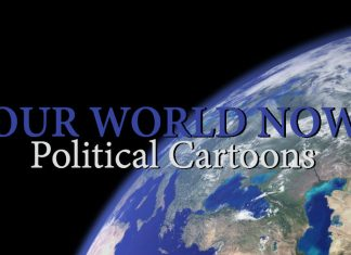 view of Earth from space with words reading Our World Now Political Cartoons