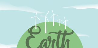 green and blue flyer for Earth Fair