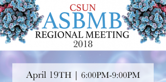 blue and purple poster for the CSUN ASBMB regional meeting