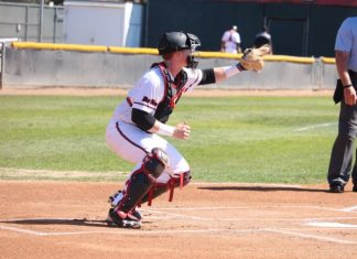 CSUN baseball catcher practicing