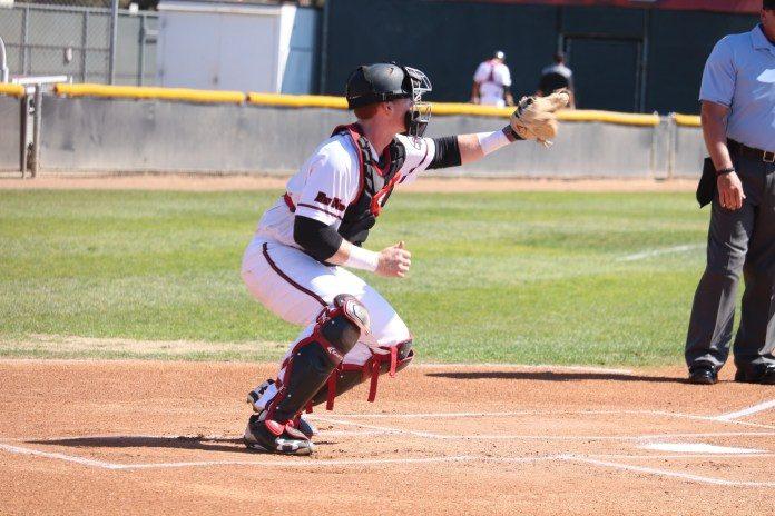 CSUN baseball catcher practicing