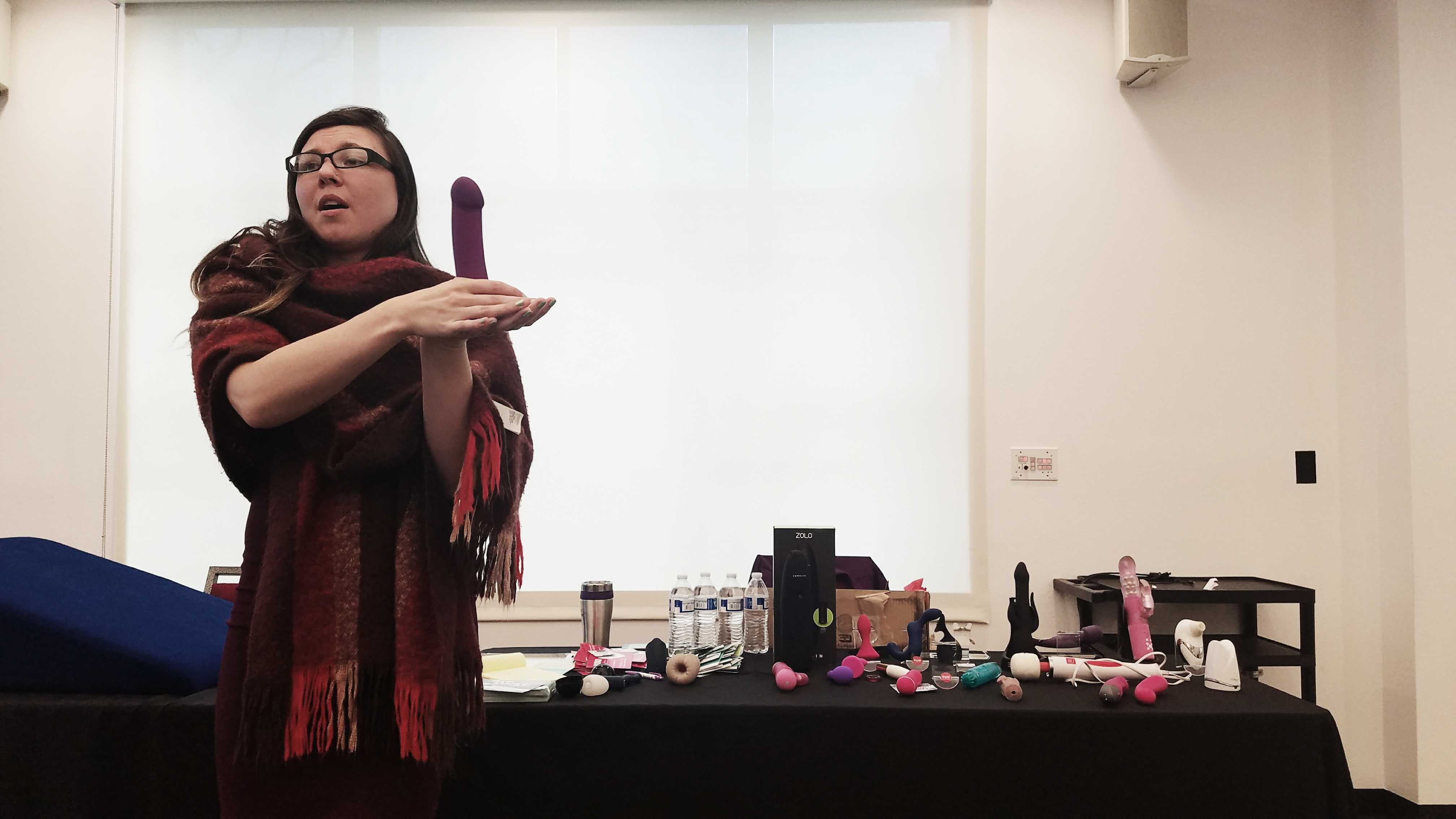 Hunter Kelch, sexual health advisor at A Touch of Romance in Tarzana, during her sex toys workshop. Photo credit: Christine Martinez