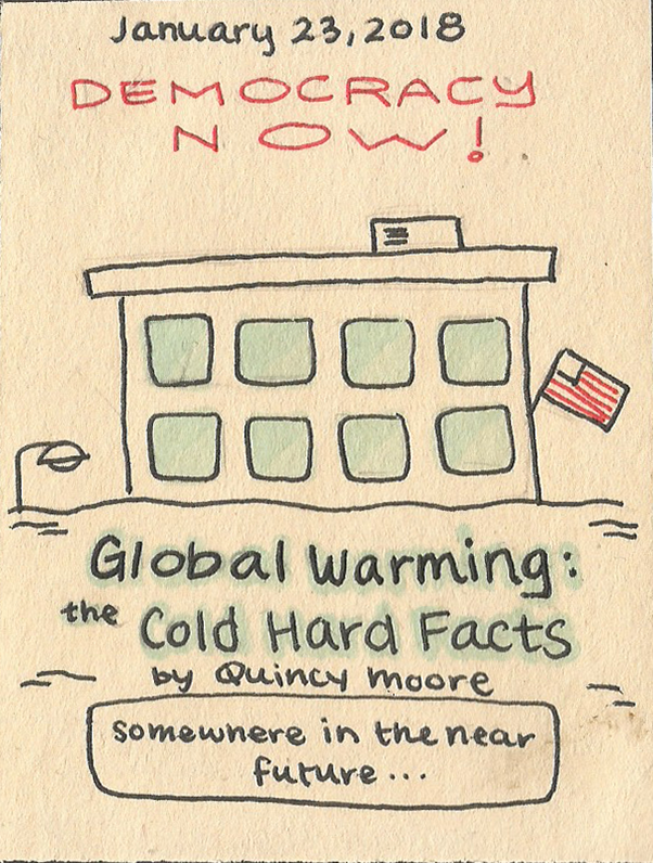 political cartoon with beige drawing of a building with Global Warming The Cold Had Facts written on it