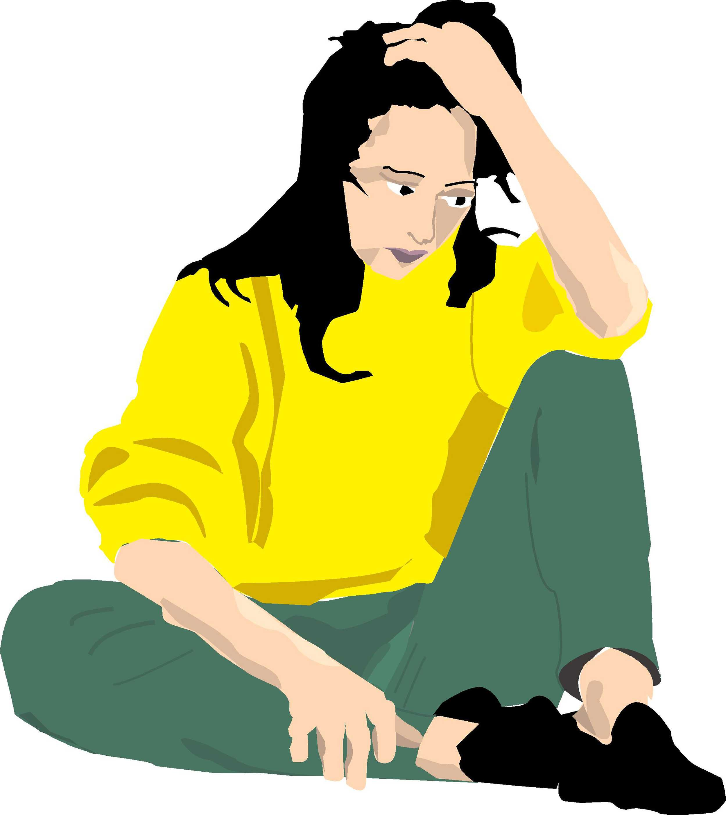 drawing of a girl in yellow sweater in distress